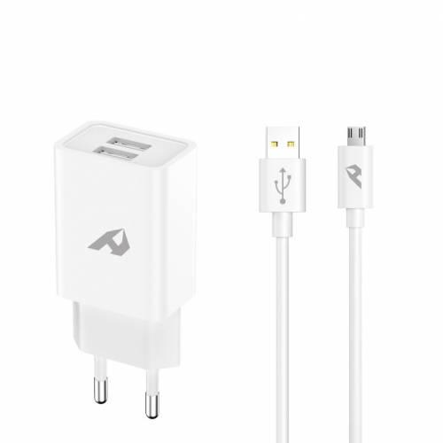 Adaptador de red enjoy usb 2 usb x 5v/24a con cable micro usb blanco
